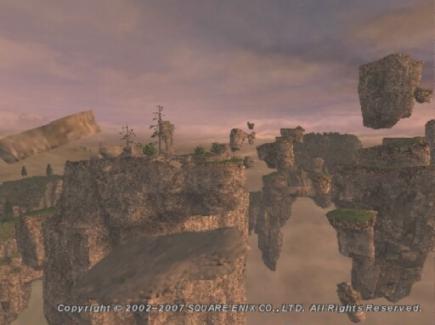 夕暮れの岩塊群